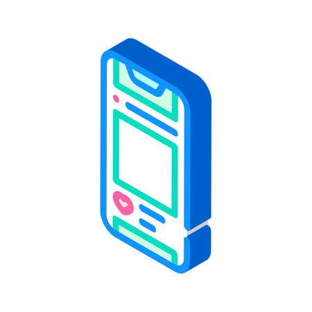 social networks smartphone isometric icon vector illustration