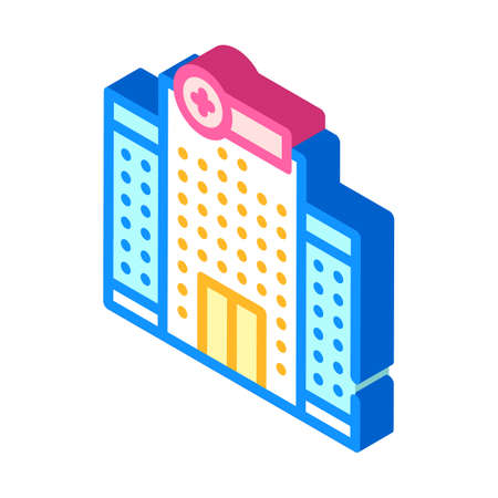 hospital building isometric icon vector illustration sign