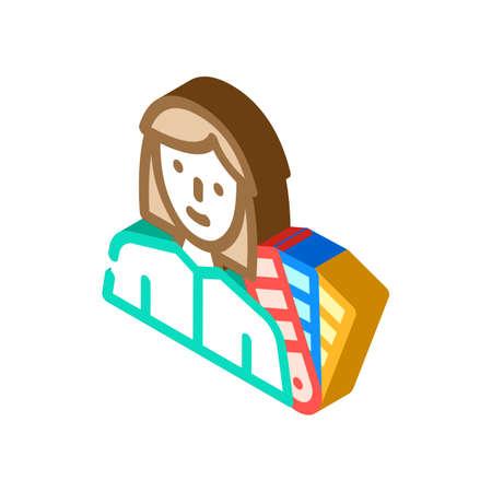 colorist designer woman job isometric icon vector illustration 向量圖像