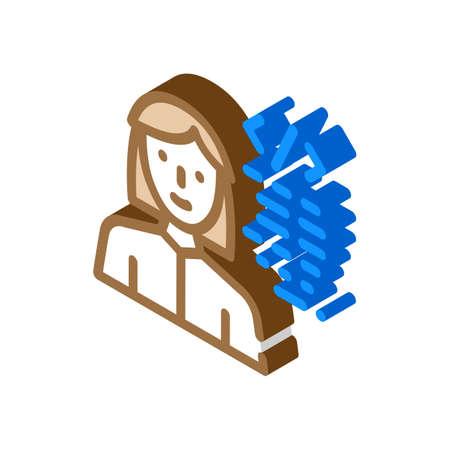 programmer woman job isometric icon vector illustration