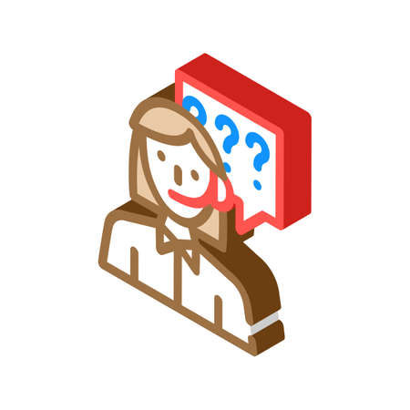 consultant, calling support woman job isometric icon vector illustration 向量圖像