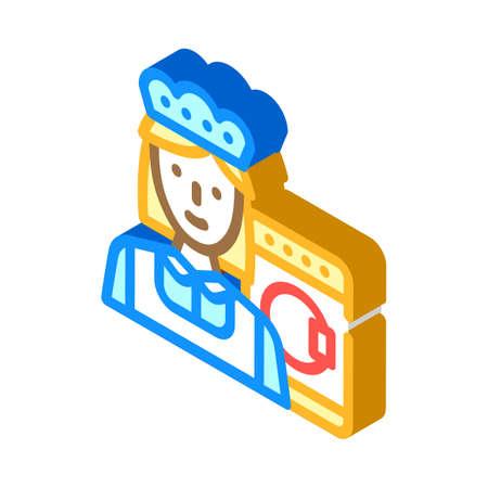 housekeeper woman job isometric icon vector illustration 向量圖像