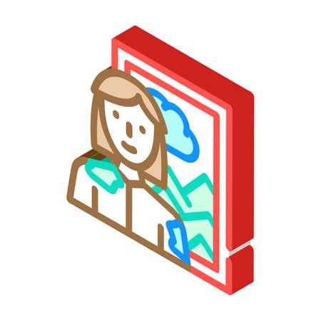 artist woman job isometric icon vector illustration