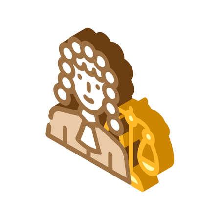 judge woman job isometric icon vector illustration 向量圖像