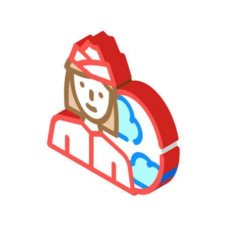 stewardess woman job isometric icon vector illustration