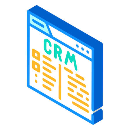 crm system isometric icon vector illustration sign 向量圖像