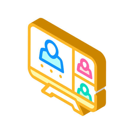 online conference, remote work isometric icon vector illustration 向量圖像