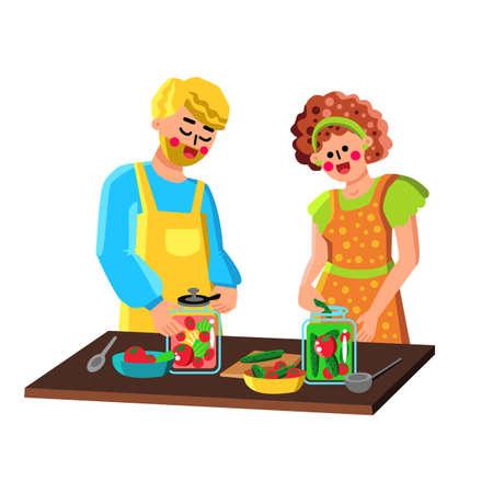 Couple Preserving Vegetables In Bottles Vector Illustration 向量圖像