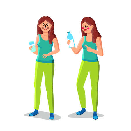 Lactose Intolerance Girl Hold Glass Of Milk Vector