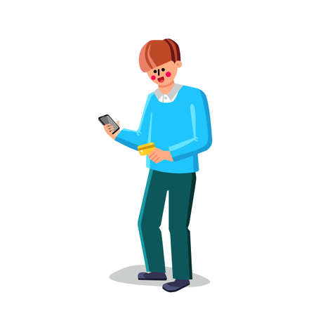 Credit Card And Smartphone Holding Man Vector