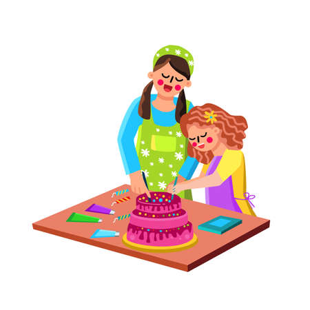 Mother And Daughter Cooking Cake Together Vector 向量圖像
