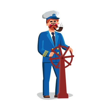 Sailor Captain Person Holding Ship Wheel Vector 向量圖像