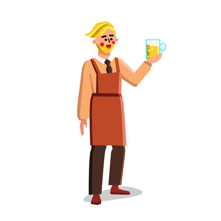 Brewery Worker Hold Glass With Beer Drink Vector