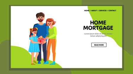 Home Mortgage Family Safe Coin In Piggybank Vector 向量圖像