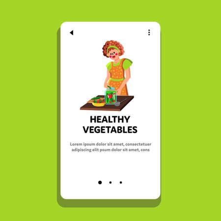 Healthy Vegetables Preserving In Jar Woman Vector