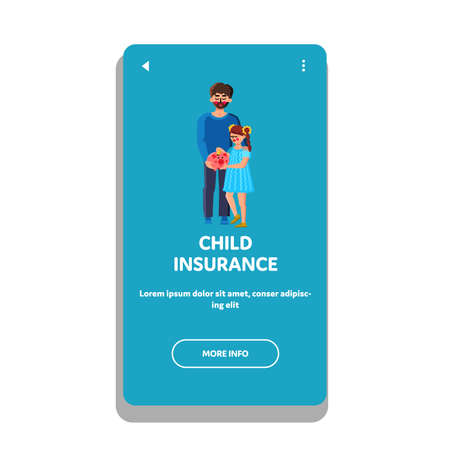 Child Insurance Family Economy Strategy Vector Illustration