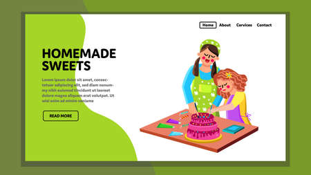 Homemade Sweets Prepare Woman With Girl Vector