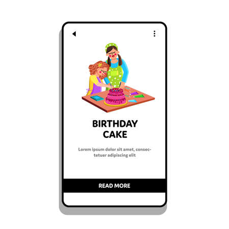 Birthday Cake Cooking Mother With Daughter Vector