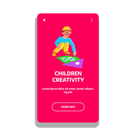 Children Creativity Draw With Color Chalk Vector 向量圖像