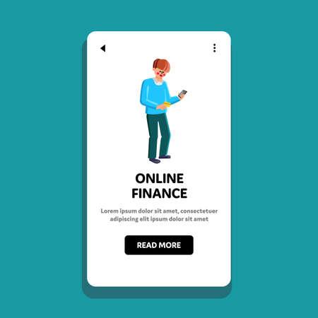 Online Finance Smartphone App Using Man Vector