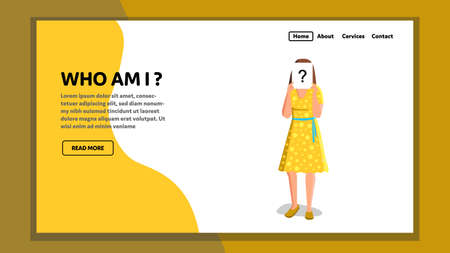 Who Am I Woman Self-knowledge Understanding Vector Ilustración de vector
