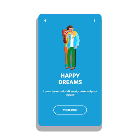 Happy Dreams Young Family Man And Woman Vector