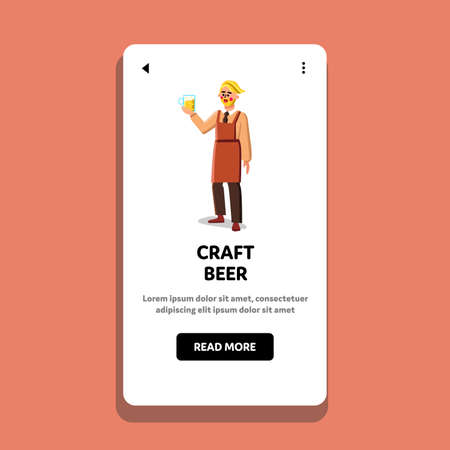 Craft Beer Manufacturing Factory Worker Vector Illustration