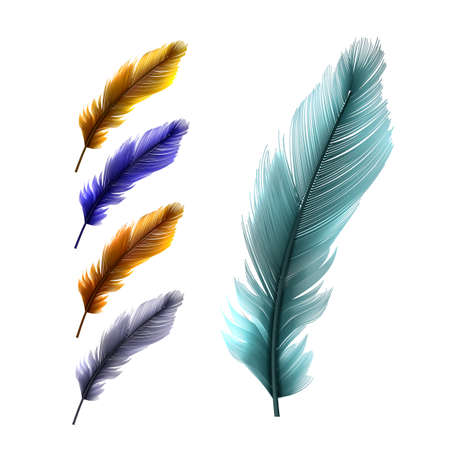 Feather Pen Vintage Writer Accessory Set Vector
