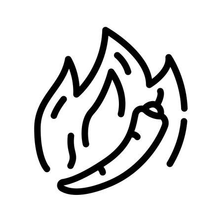 hot pepper line icon vector illustration black Ilustración de vector