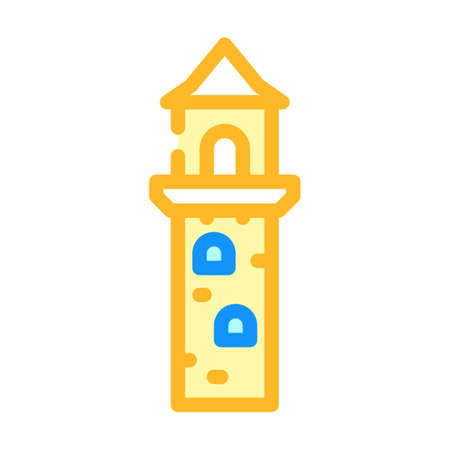 lookout tower color icon vector illustration flat