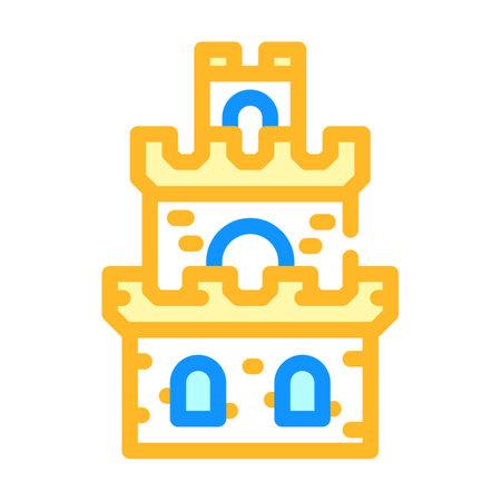 tower building of vintage castle color icon vector illustration 矢量图像