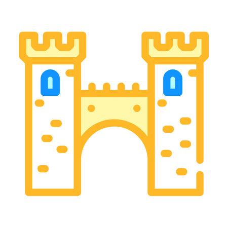 bridge between castle towers color icon vector illustration