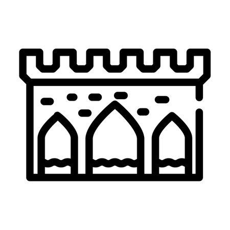 aqueduct antique construction line icon vector illustration