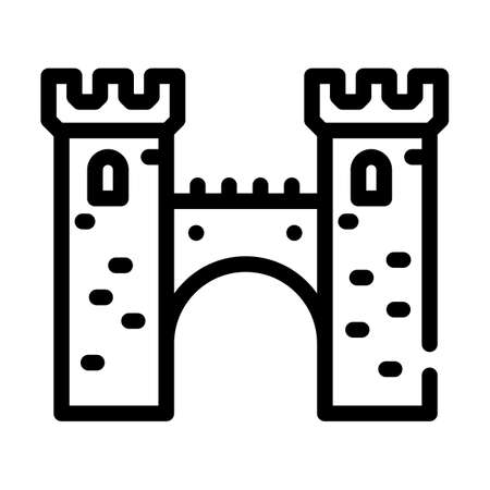 bridge between castle towers line icon vector illustration