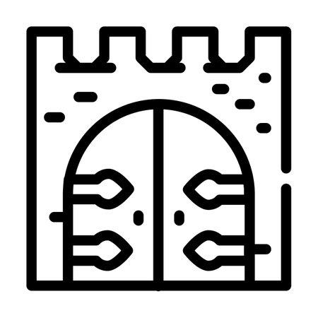 goal of medieval castle line icon vector illustration 矢量图像