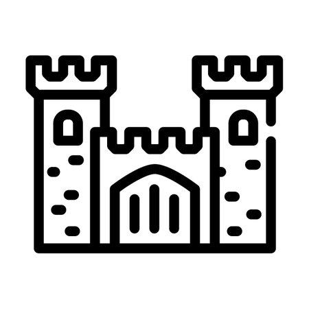 castle medieval building line icon vector illustration 矢量图像