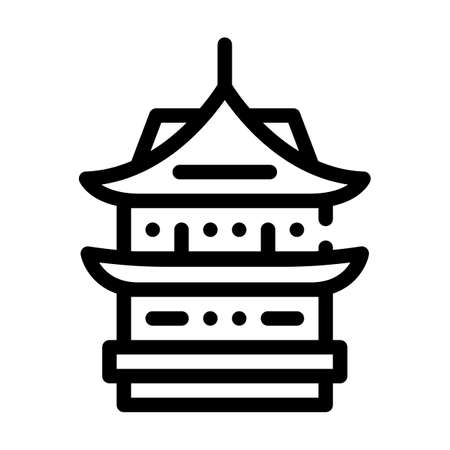 donjon asian building line icon vector illustration