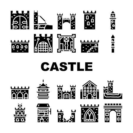 Castle Construction Collection Icons Set Vector Illustration