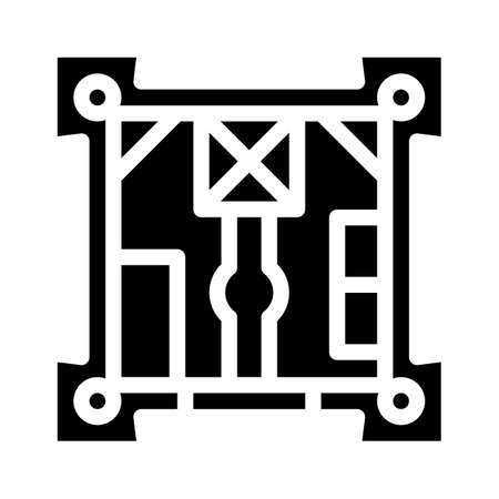 castle plan glyph icon vector illustration black
