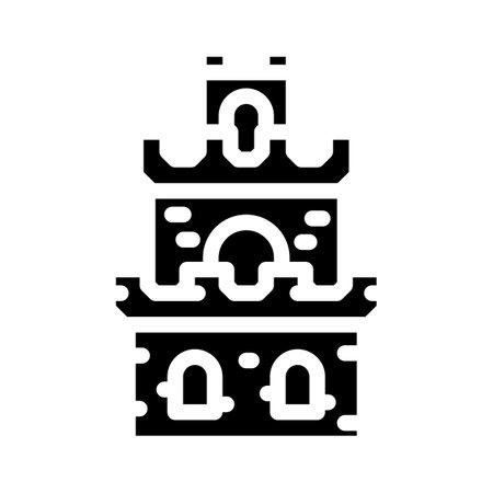tower building of vintage castle glyph icon vector illustration 矢量图像