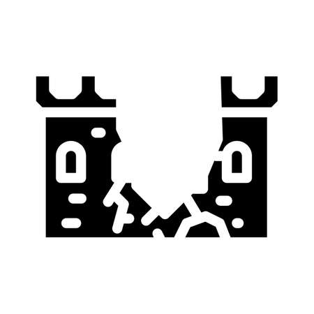 destroyed wall of castle glyph icon vector illustration