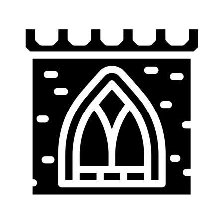window of ancient castle glyph icon vector illustration