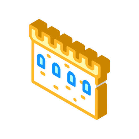 stone wall with windows isometric icon vector illustration