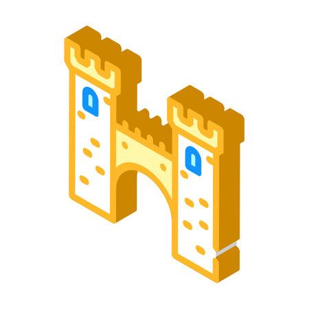 bridge between castle towers isometric icon vector illustration