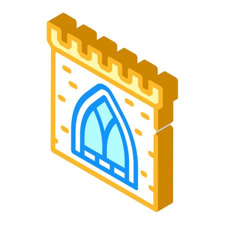 window of ancient castle isometric icon vector illustration