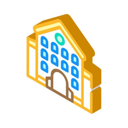 castle main building isometric icon vector illustration 矢量图像