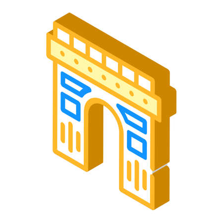 arch construction isometric icon vector illustration color