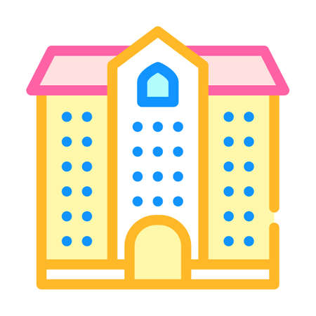 university building color icon vector illustration color 向量圖像