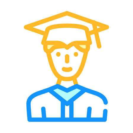 student graduate color icon vector illustration color