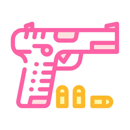 gun with cartridges color icon vector illustration